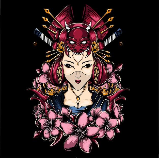Geisha-mädchen mit blumenillustration