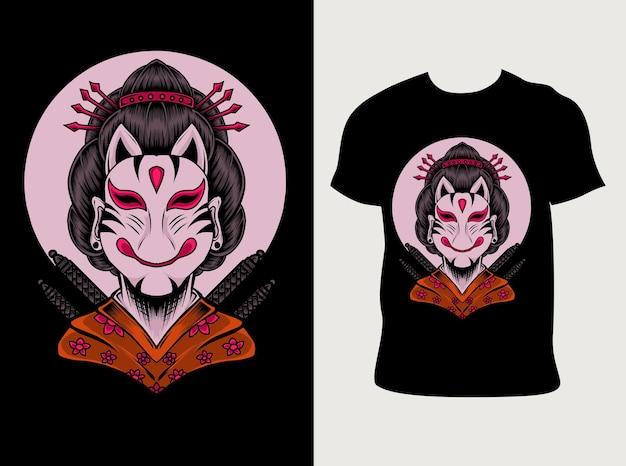 Geisha-maske mit t-shirt-design