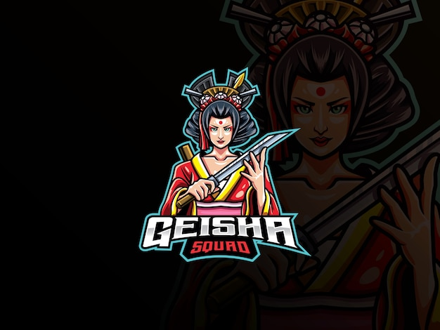 Geisha maskottchen esport logo. japanisches mädchen maskottchen logo. geisha-maskottchen mit waffe für das esport-team.