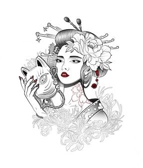 Geisha mit einer dämonenmaske in der hand