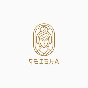 Geisha mit linienstillogoschablone. Premium Vektoren