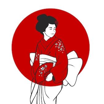 Geisha-porträt-illustration