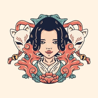 Geisha und kitsune