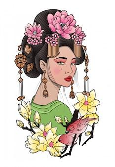 Geisha zwischen blühenden blumen und vögeln
