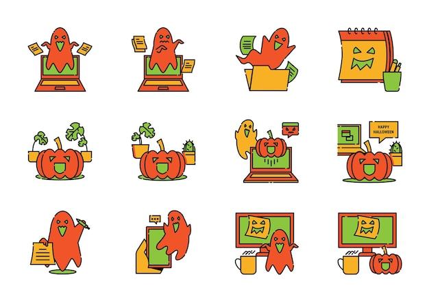 Geist gespenstisch im büroarbeitsplatz-farblinien-icon-design mit geist, laptop, handy, tasse und kaktus am halloween-tag