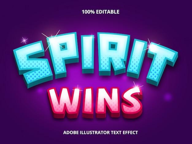 Geist gewinnt text, bearbeitbarer schrifteffekt