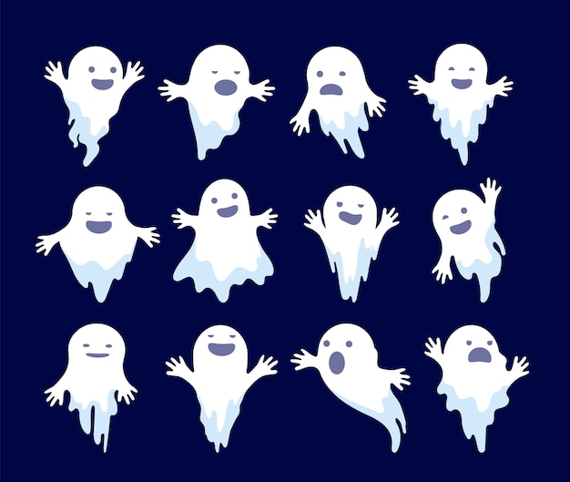 Geist. halloween gruseliges phantom, gruselige geister. mystery dead monsters cartoon geisterfiguren. illustration geisterfeiertag, weiße geistergeheimnisillustration