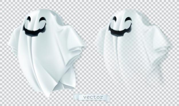 Geist mit schatten und transparenz. fröhliches halloween, vektor, zeichentrickfigur
