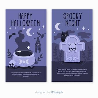Geisterhafte nachthand gezeichnete halloween-fahnen
