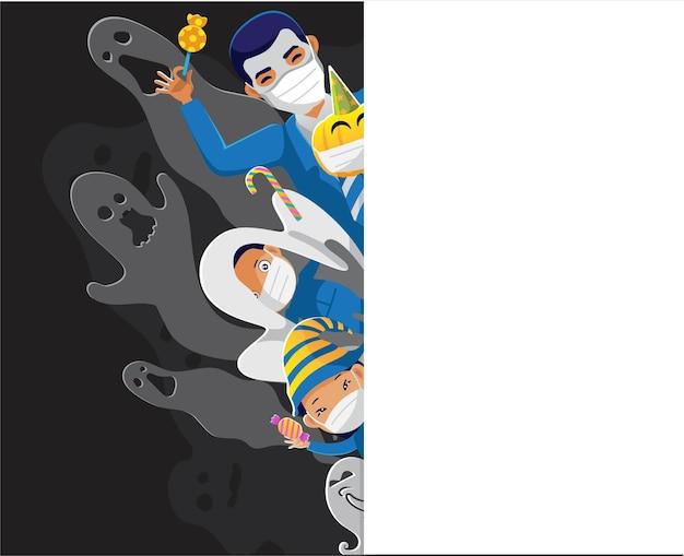 Geistermaske kostüm süßer teufel und schwarz-weißer geisterschatten hinter den kulissen