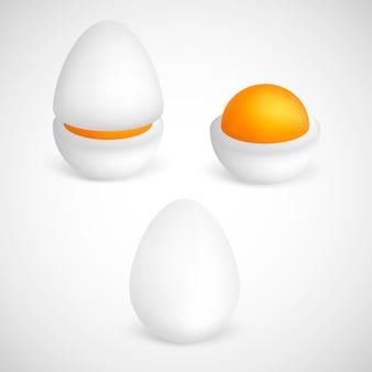 Gekochte eier lokalisiert auf weißem hintergrund. set gekochte, halb geschnittene eier. eier in verschiedenen formen.