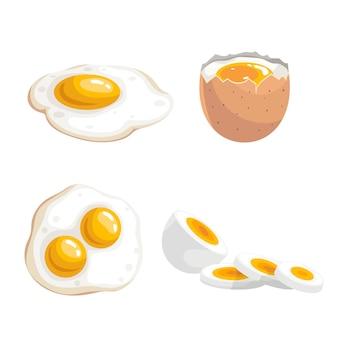 Gekochte eier und spiegeleier