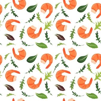 Gekochte garnelen und salatblätter auf weißem hintergrund mischen. tiger garnele. illustration. nahtloses muster.