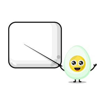 Gekochtes ei wird zu einem süßen charakter-maskottchen-lehrer