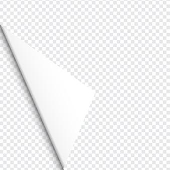 Gekräuselte ecke des papiers auf transparentem hintergrund mit weichen schatten, realistische papierseite