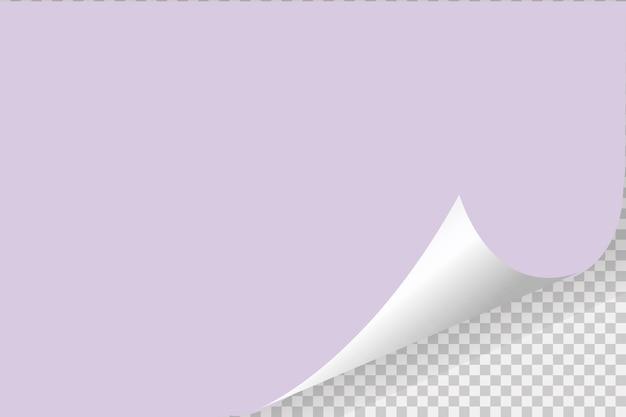 Gekräuselte ecke des papiers auf transparentem hintergrund mit weichen schatten, realistische papierseite.