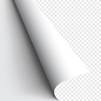 Gekräuselte ecke des papiers auf transparentem hintergrund mit weichen schatten, realistisches papierseitenmodell.