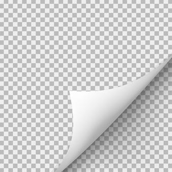 Gekräuselte ecke des papiers mit schatten auf transparentem hintergrund.