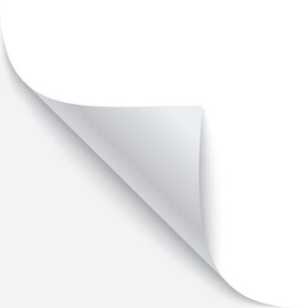 Gekräuselte ecke des papiers mit schatten