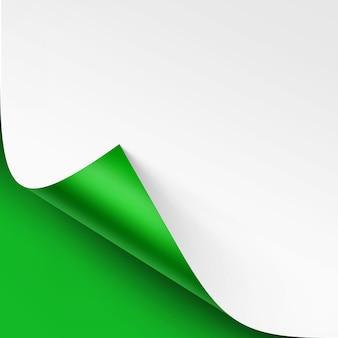 Gekräuselte ecke des weißen papiers mit schatten