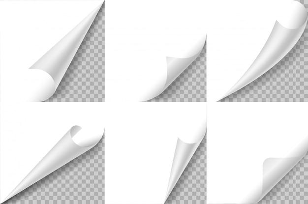 Gekräuselte ecken gesetzt. papierseiten-curl-ecke, flip-turn-fold-sheet. curly winkel des aufklebers, gebogener randnotizblock. realistisches design