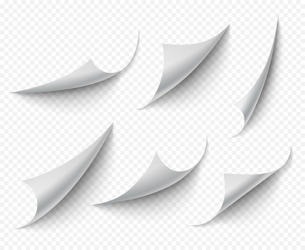 Gekräuselte ecken. weißer transparenter leerer kurvenseitenvektor realistisch. verdrehter winkel der papiernote, abbildung der lockenseite