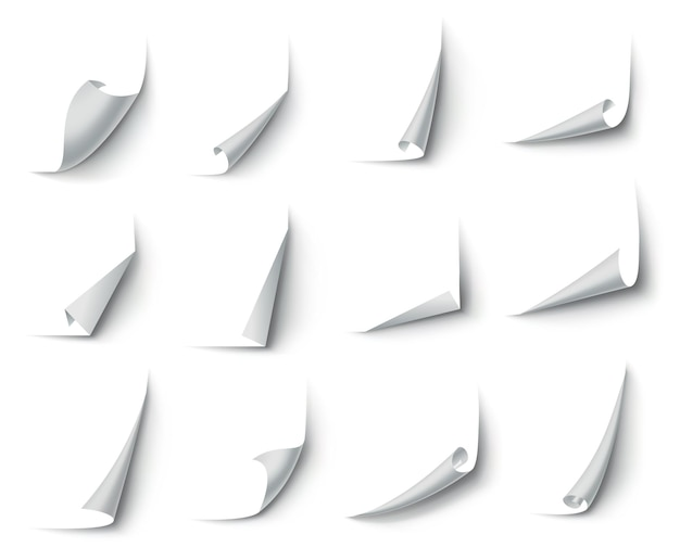 Gekräuselte papierecken. kurveneckecke, seitenrandwölbung und gebogenes papierblatt mit realistischem schatten.