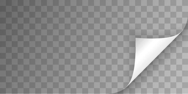 Gekräuselte seitenecke mit schatten auf transparentem hintergrund. biegepapier. vorlagenillustration für ihr design.