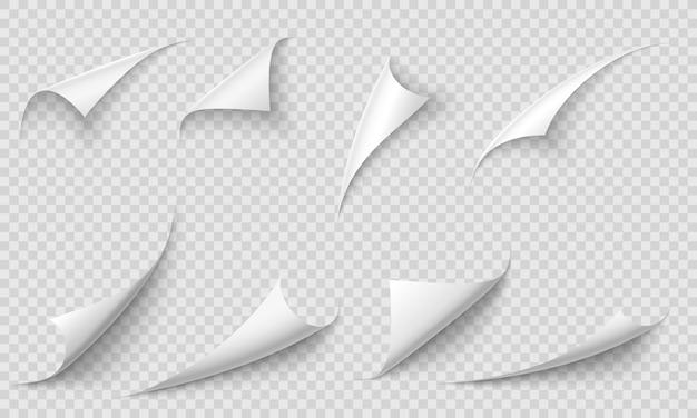 Gekräuselte seitenecke. papierkanten, kurvenseitenecken und papierrollen mit realistischem schattenillustrationssatz