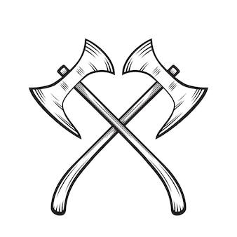 Gekreuzte äxte, mittelalterliche waffen auf weiß, vektorillustration