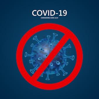 Gekreuzte coronavirus-zelle. stoppen sie den virus. corona virus 2020, pandemie, virusinfektionen. coronavirus (2019-ncov). virus covid 19-ncp. hintergrund mit realistischen viruszellen. symbolillustration.