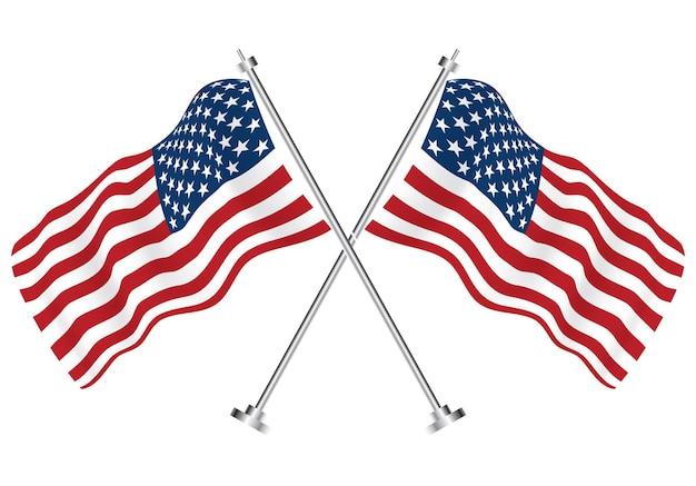 Gekreuzte flaggen der usa. vektor-illustration. isolierte wellenflaggen des usa-landes.