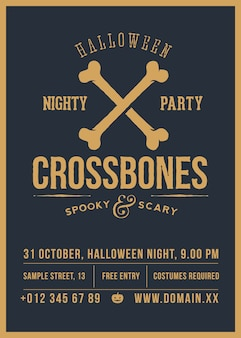 Gekreuzte knochen halloween party abstrakte vintage poster, karte oder flyer.