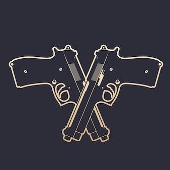 Gekreuzte moderne pistolen, zwei halbautomatische handfeuerwaffen, goldener umriss, vektorillustration