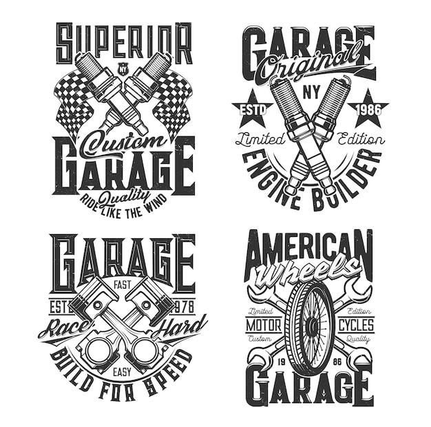 Gekreuzte motorkolben, zündkerzen und schraubenschlüssel t-shirt druckvorlage. autoreparaturwerkstatt, kundenspezifischer motorradmechaniker, motorsport-rennbekleidung, vektordruck mit fahrzeugersatzteilen