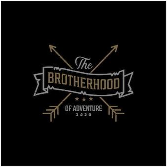 Gekreuzte pfeile brotherhood ribbon retro rustikales hipster-stempel-logo-design