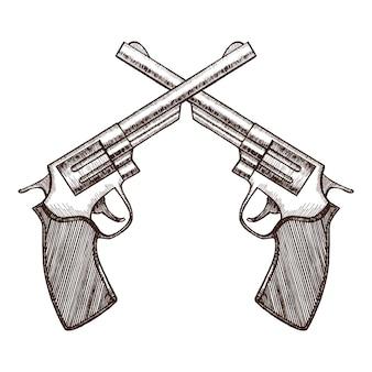 Gekreuzte pistolen hand draw sketch revolver gun duell.
