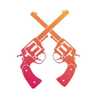 Gekreuzte retro-revolver über weiß, t-shirt-print