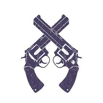 Gekreuzte revolver über weiß, mit grunge-textur