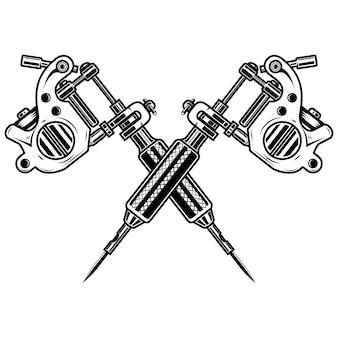 Gekreuzte tätowiermaschinen auf weißem hintergrund. element für plakat, emblem, zeichen, abzeichen. illustration