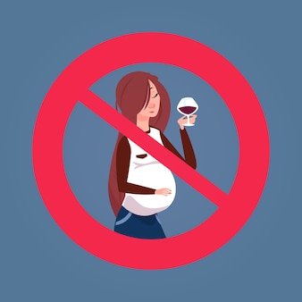 Gekreuztes zeichen mit trinkendem alkohol der schwangeren frau