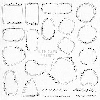 Gekritzel blumenkranz und rahmen hand zeichnen strichzeichnungen minimalistischen stil