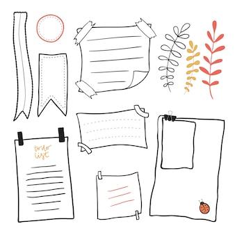 Gekritzel briefpapier. hand gezeichnete nachrichten haftnotizen vektor festgelegt