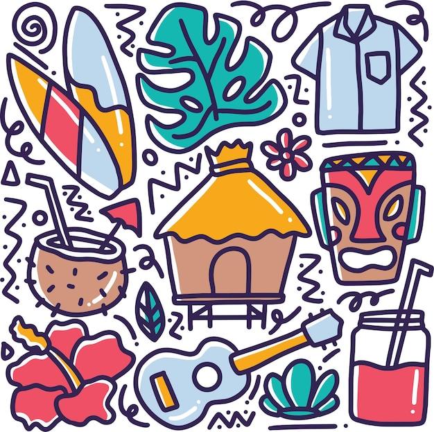 Gekritzel der hawaii-sammlungshandzeichnung mit ikonen und gestaltungselementen