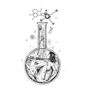 Gekritzel der wissenschaftlerfrau mit einem chemieglas, das chemische reaktion liest.