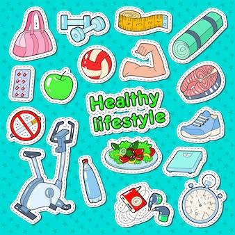 Gekritzel des gesunden lebensstils der frau mit sportelementen und diätnahrung