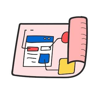 Gekritzel des websiteschablonenplans