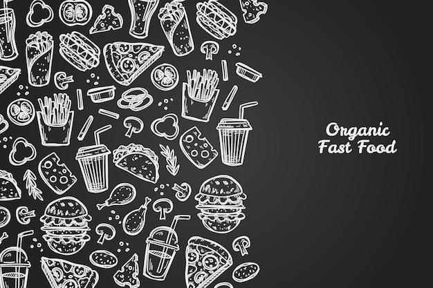 Gekritzel fast-food-sammlung. hand gezeichnete illustration