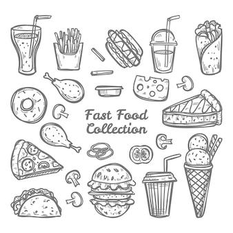 Gekritzel fast-food-sammlung. hand gezeichneter stil