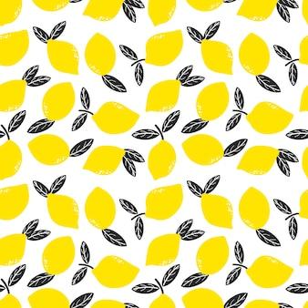 Gekritzel gelbe zitronen mit nahtlosem blattmuster
